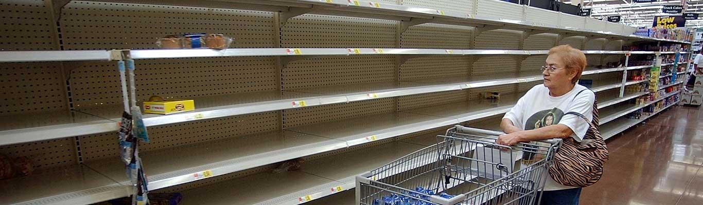 Empty shelves after hurricane
