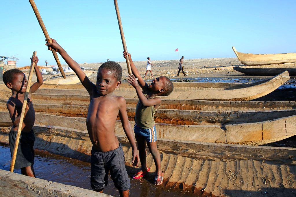 Children playing in a fishing village