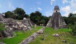 Tikal, a Mayan agricultural city-state that flourished about two thousand years ago, but was eventually abandoned and covered by jungle