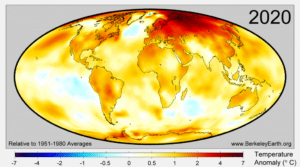World map illustrating surface temperatures anomalies from January to September of 2020, as compared to the 1951 to 1980 baseline, by Berkeley Earth.