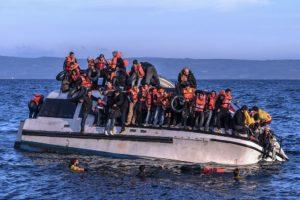 Syrians and Iraq refugees arrive at Skala Sykamias Levos, Greece